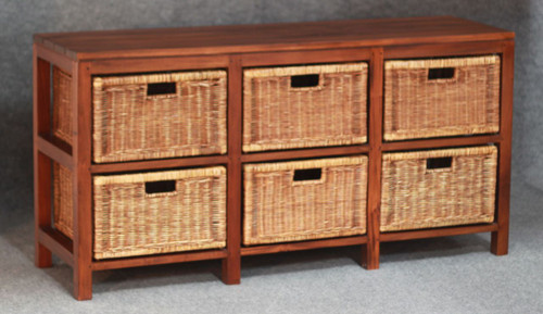 FERNARY (SB006RT) RATTAN STORAGE UNIT WITH 6 DRAWERS - MAHOGANY