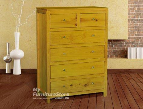 OLIVER STRAIGHT 6 DRAWER TALLBOY - ASSORTED COLOURS