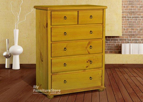 BOB (BUN FEET) 6 DRAWER TALLBOY - ASSORTED COLOURS