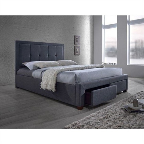 KING   CANTON FABRIC UPHOLSTERED  BED  (1-18-9-5-12)  - ASH GREY