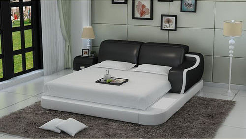 QUEEN  LIVINGSTON MODERN LEATHER BED ( LB8803) - ASSORTED COLORS AVAILABLE IN DIFFERENT  LEATHERS (COLOUR BOARD ATTACHED IN IMAGE SECTION)