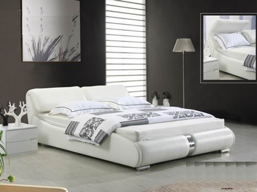 DOUBLE CHARLOTTE LEATHERETTE BED (2222) - ASSORTED COLORS (PICTURED IN WHITE)