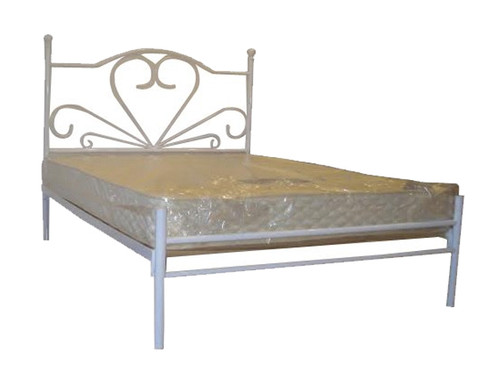 KING SINGLE CUPID  METAL  BED - WHITE PEWTER OR BLACK