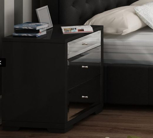ASHFORD LARGE BEDSIDE TABLE WITH MIRRORED FRONTS (3-5-14-20-21-18-26)   - SMOKE MIRROR / BLACK  GLOSS