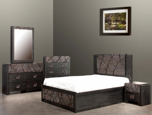 CHALET QUEEN  6 PIECE (THE LOT) TONE  BEDROOM SUITE (1-18-7-12-5) - SAPPHIRE DECORATED WITH SWAROVSKI CRYSTAL