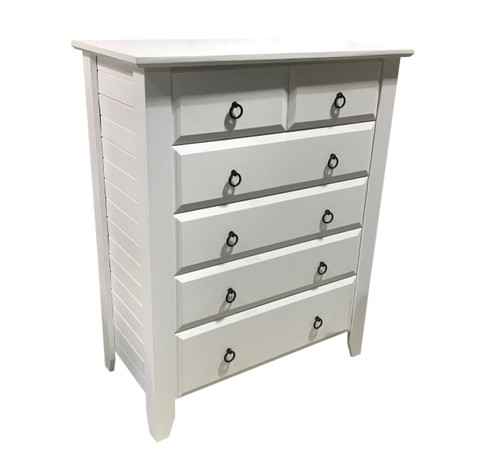 MANILLA TALLBOY WITH 6 DRAWERS 1200(H) X 940(W) - WHITE, ANTIQUE WHITE, WHITEWASH & BRUSHED COLOUR OPTIONS
