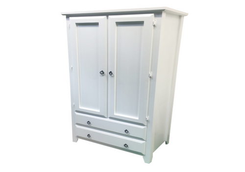 MANILLA 2 DOOR / 2 DRAWER WARDROBE WITH SMOOTH DOORS AND SIDES - 1900(H) x 960(W) x 530(D) - WHITE , ANTIQUE WHITE , WHITEWASH & BRUSHED COLOUR OPTIONS