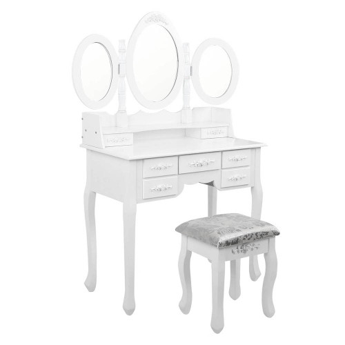 ERIN LUXURY DRESSING TABLE WITH MIRROR & STOOL WITH 7 DRAWERS (DRESS-TAB-7D-AB) - FULLY ASSEMBLED MODEL - (MODEL 5-12-12-1) - 1460(H) X 1020(W) - WHITE