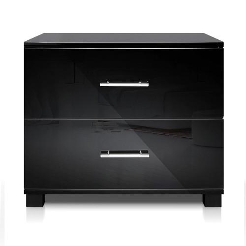 BENNY  2 DRAWER POLLY BEDSIDE TABLE (FURNI-GLOSS-SIDE-BK)  - HIGH GLOSS BLACK