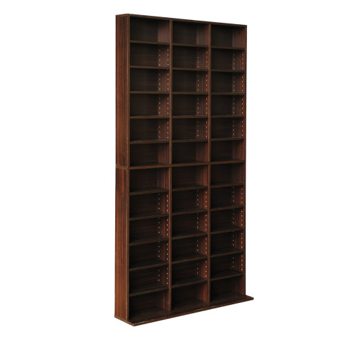 LENNY ADJUSTABLE CD DVD / BOOK STORAGE SHELF  -1945(H) x 1020(W)  - BROWN