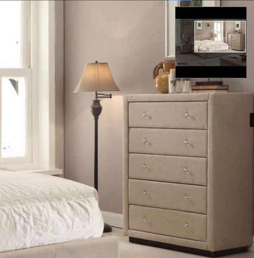 MARRIOTT FABRIC TALLBOY WITH 5 DRAWERS (13-15-14-18-15-5) -   LINEN