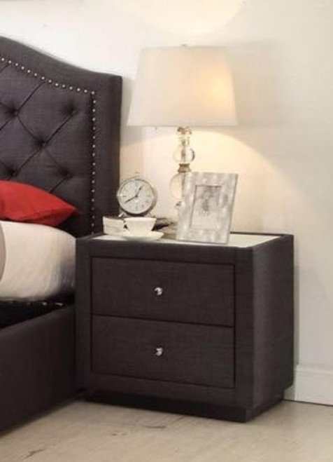 MARRIOTT FABRIC BEDSIDE TABLE WITH 2 DRAWERS (13-15-14-18-15-5) - CHARCOAL