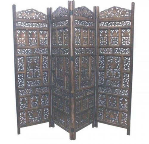 JAMIN / ELEPHANT WOODEN 4 FOLDING PANEL SCREEN / ROOM DIVIDER (WOWP-002) - BURNT