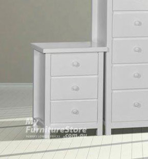 FEDERATION 3 DRAWER BEDSIDE - ASSORTED COLOUR STAINS AVAILABLE (NOT WHITE AS PICTURED)