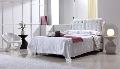 QUEEN BENFOSTER  LEATHERETTE BED WITH TUFTED BEDHEAD  (B44#) - ASSORTED COLORS