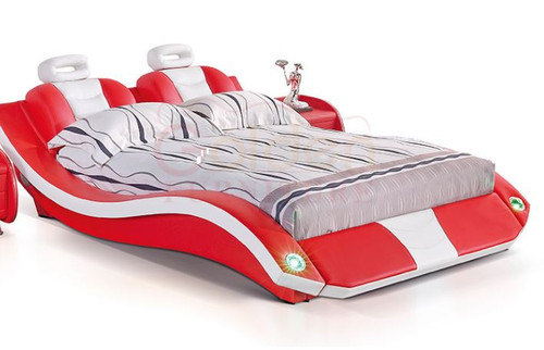 KING BENNY  LEATHERETTE BED WITH LED LIGHTS AND SPEAKER  (G1043#) - ASSORTED COLORS