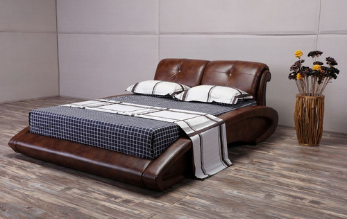 KING  SWISS  LEATHERETTE BED (G1119#) - ASSORTED COLORS