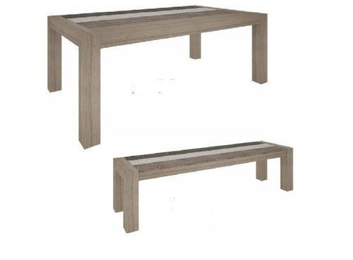 HIGHLAND 3 PIECE BENCH SET  (3-8-1-20-5-1-21) 1800(L) X 1000(W) DINING TABLE - BRUSHED & MULTI COLOR