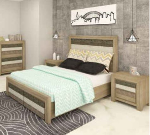 HIGHLAND QUEEN 3 PIECE BEDSIDE BEDROOM SUITE  WITH UNDERBED STORAGE DRAWERS (3-8-1-20-5-1-21) - BRUSHED & MULTI COLOR