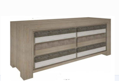 HIGHLAND 6 DRAWERS DRESSING TABLE ONLY  (3-8-1-20-5-1-21) - 860(H) X 1400(W)- BRUSHED & MULTI COLOR