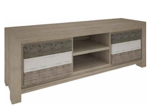 HIGHLAND TV UNIT  WITH 2 DOORS & 2 NICHES  (3-8-1-20-5-1-21) - 580(H) X 1730(W)- BRUSHED & MULTI COLOR FINISH