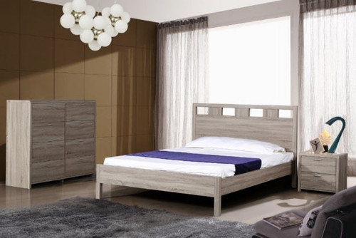 ARIZONA TIMBERGRAIN KING 3 PIECE  BEDSIDE  BEDROOM SUITE WITH FIXED BED  - LIGHT OAK