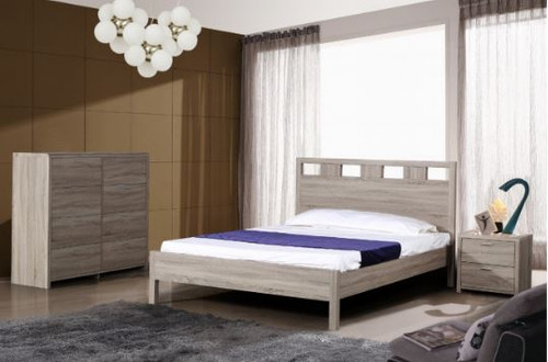 ARIZONA TIMBERGRAIN  DOUBLE OR QUEEN 4 PIECE BEDSIDE BEDROOM SUITE (FIXED)  - LIGHT OAK