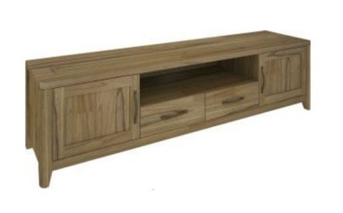 COSMO  HARDWOOD ENTERTAINMENT UNIT WITH 2 DOORS & 2 DRAWERS (VCO-007) -550(H) x 2100(W)- NATURAL OAK