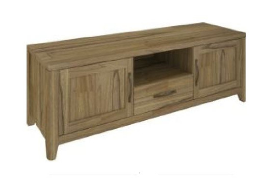 COSMO HARDWOOD ENTERTAINMENT UNIT WITH 2 DOORS & 1 DRAWER (VCO-006) - 550(H) x 1650(W) - NATURAL OAK