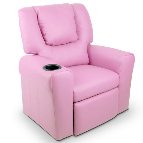 AMARIS  KIDS SINGLE LEATHERETTE RECLINER CHAIR (KID-RECLINER-PK) - PINK