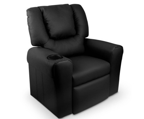 AMARIS  KIDS SINGLE LEATHERETTE RECLINER CHAIR (KID-RECLINER-BK) - BLACK