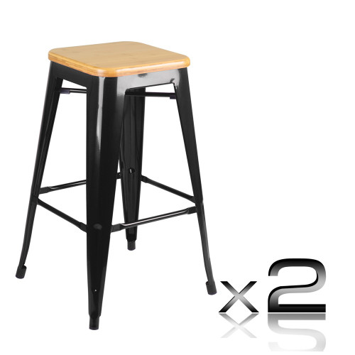 TOLIX  REPLICA METAL BAR STOOL WITH BAMBOO SEAT - (SET OF 2) -  660(H) - BLACK