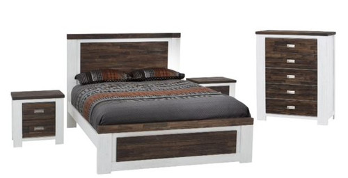 ESSENTILA  QUEEN 4 PIECE TALLBOY  BEDROOM SUITE (6-18-5-9-4-1) -  WHITE / ASH GREY