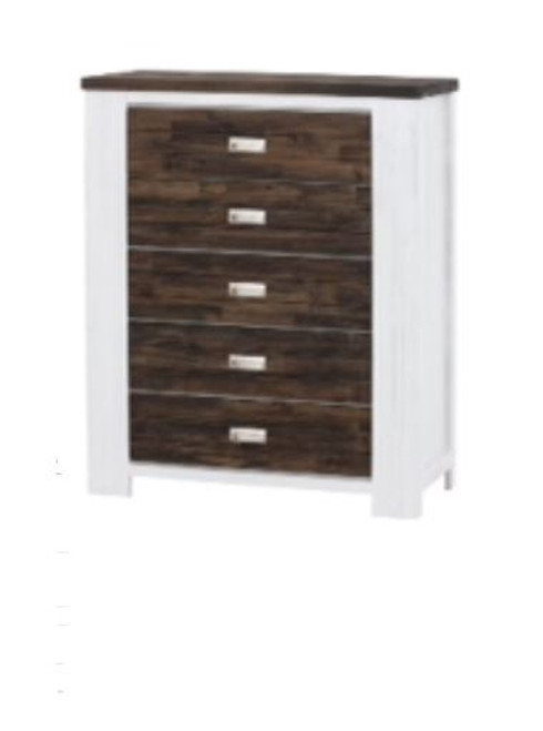 ESSENTILA  5 DRAWER TWO - TONED HARDWOOD TALLBOY 1200(H) X 1000(W) (6-18-5-9-4-1) - WHITE / ASH GREY