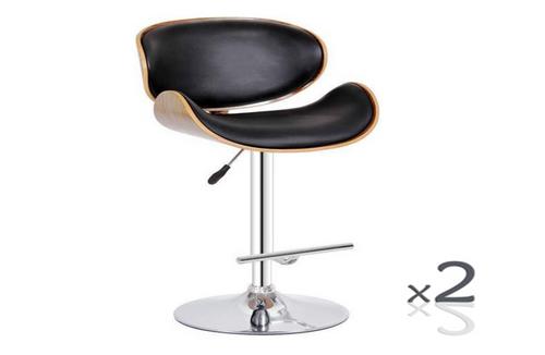 MONACO LEATHERETTE BAR CHAIR (SET OF 2) BARSTOOL - SEAT: 630/850(H) - (VJY-1076) - BLACK / WALNUT