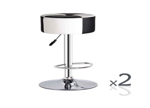 DINA  LEATHERETTE  BARSTOOL (SET OF 2)  (VJY-1925)  - SEAT: 740 - 950(H) -  - BLACK / WHITE