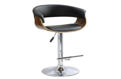 FOCUS BENTWOOD GAS LIFT SWIVEL BAR STOOL - SEAT: 630 - 840(H) - (VJY-1953) - BLACK / WALNUT OR WHITE / WALNUT