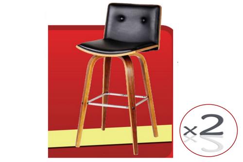 MOJO BENTWOOD BAR STOOL (SET OF 2 ) SEAT: 630 - 840(H) - BLACK / WALNUT