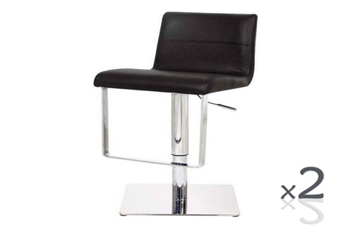 JAYE (SET OF 2) LEATHERETTE GASLIFT & SWIVEL BARSTOOL SEAT: 630-840(H)  (VJY-1071) - BLACK