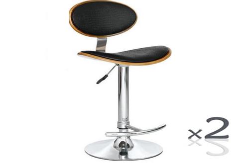 LOKO BENTWOOD (SET  OF 2) LEATHERETTE BAR STOOLS - (VJY-1009) - SEAT: 645-865(H) - BLACK / WALNUT