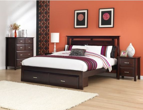 DOUBLE ANGELO BED WITH 2 UNDER BED STORAGE DRAWERS (OR-76-1) - DARK CHOCOLATE