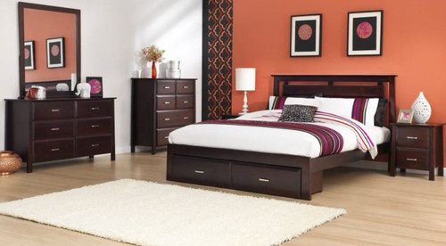 ANGELO DOUBLE OR QUEEN  6 PIECE (THE LOT)  BEDROOM SUITE  (OR-76-1) - DARK CHOCOLATE