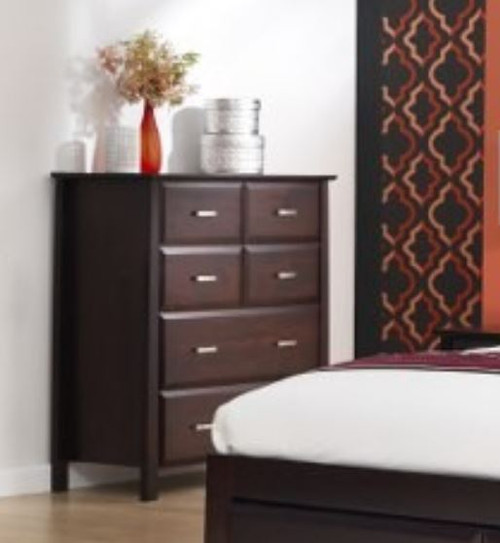 ANGELO  6 DRAWER  SOLID TIMBER  TALLBOY (OR-76-1)  - 1050(H) X 980(W) -DARK CHOCOLATE
