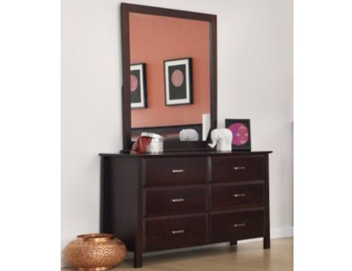 ANGELO 6 DRAWER SOLID TIMBER DRESSING TABLE WITH MIRROR (OR-76-1) - 940(H) x 1340(W) - DARK CHOCOLATE
