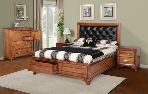 CASSIDY QUEEN 4 PIECE TALLBOY AMERICAN OAK  BEDROOM SUITE(3-1-13-4-5-14) - OAK
