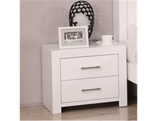 HESSY  2 DRAWERS BEDSIDE TABLE - (MODEL - 3-1-18-12-1) - HIGH GLOSS WHITE