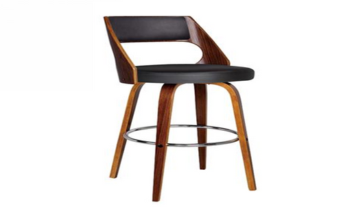 OSLO BENTWOOD SWIVEL TOP BAR STOOL - SEAT: 700(H) - BLACK