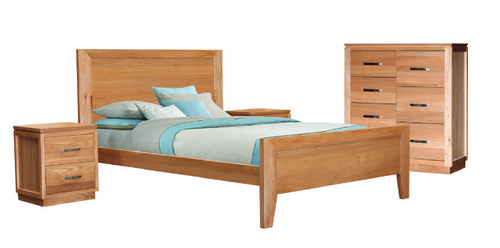 TREASURE QUEEN 4  PIECE TALLBOY  BEDROOM SUITE WITH FLAT PANEL BED  (20-1-18-1) - LIGHT OAK