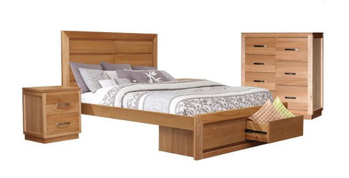 TREASURE QUEEN 4   PIECE TALLBOY    BEDROOM SUITE (BED WITH 2 END DRAWERS) -   (20-1-18-1) - LIGHT OAK