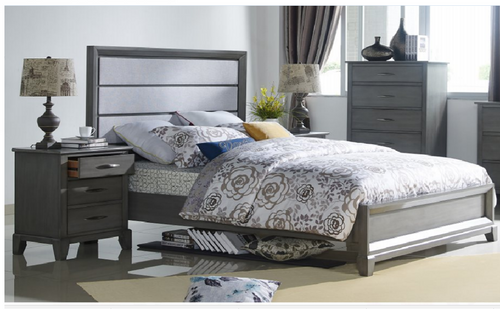 MIDASCO   KING 3 PIECE  BEDSIDE BEDROOM SUIT  (612)    (MODEL - 10-13-19-12-25-14) - GREY